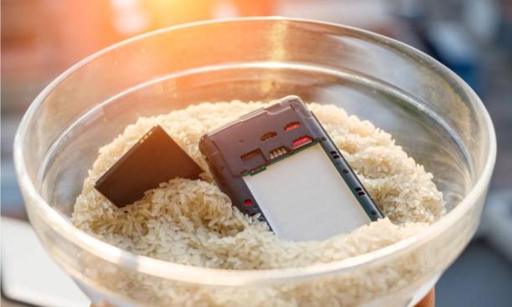 Smartphone dikeringkan di beras